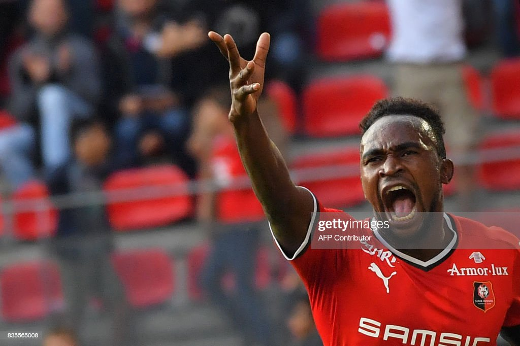 Rennes' Congolese forward Firrmin Mubele Ndombe celebrates after scoring a goal during the French L1 football match between Rennes (SRFC) and Dijon (DFCO) at the Roazhon Park stadium in Rennes, western France, on August 19, 2017. /