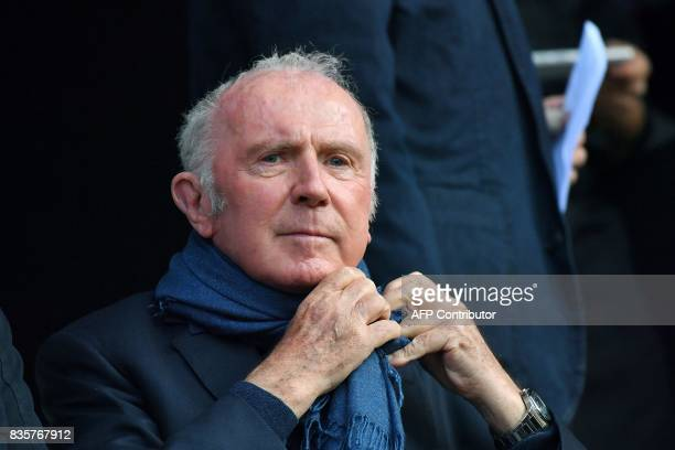 Rennes football club owner and business man Francois Pinault attends the French L1 football match Rennes vs Dijon at the Roazhon Park stadium in...