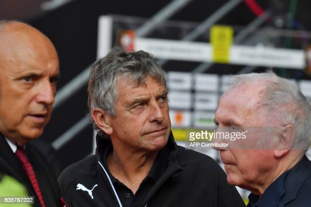 Rennes football club owner and business man Francois Pinault Rennes' French coach Christian Gourcuff and Rennes' French club president Rene Ruello...