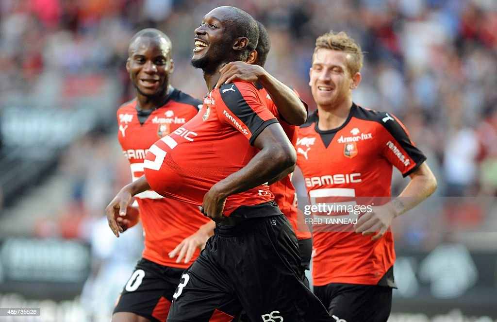 Rennes' forward Giovanni Sio celebrates after scoring a goal during the French L1 football match Rennes against Toulouse on August 29 2015 in the...