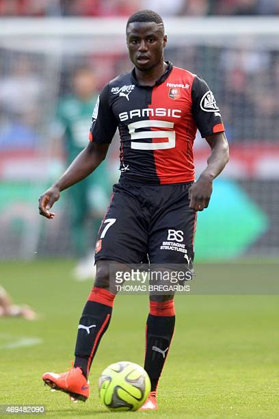 Rennes' forward PaulGeorges Ntep looks on during the French L1 football match between Rennes and Guingamp on April 12 2015 at the route de Lorient...