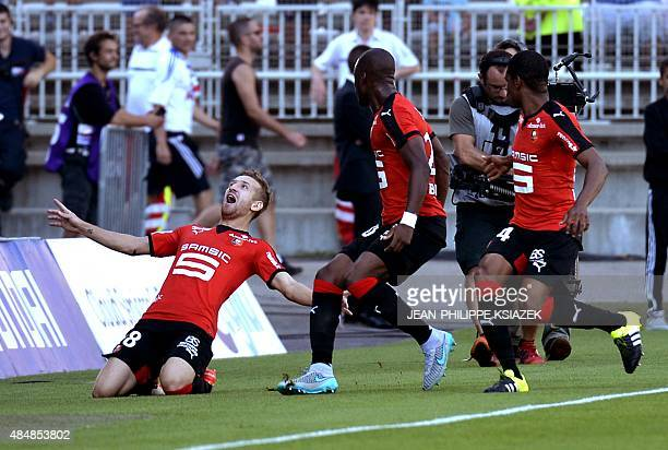 Rennes' forward Pedro Henrique celebrates after scoring a goal during the French L1 football match Lyon vs Rennes on August 22 at the Gerland stadium...
