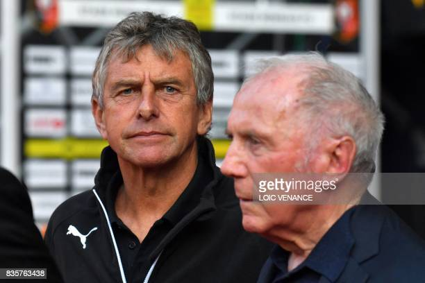 Rennes' French coach Christian Gourcuff and Rennes football club owner and business man François Pinault look on prior to the French L1 football...