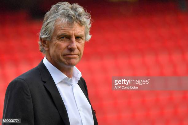 Rennes' French coach Christian Gourcuff is pictured on the sidelines of the official presentation of the French Ligue 1 football Club Stade Rennais...
