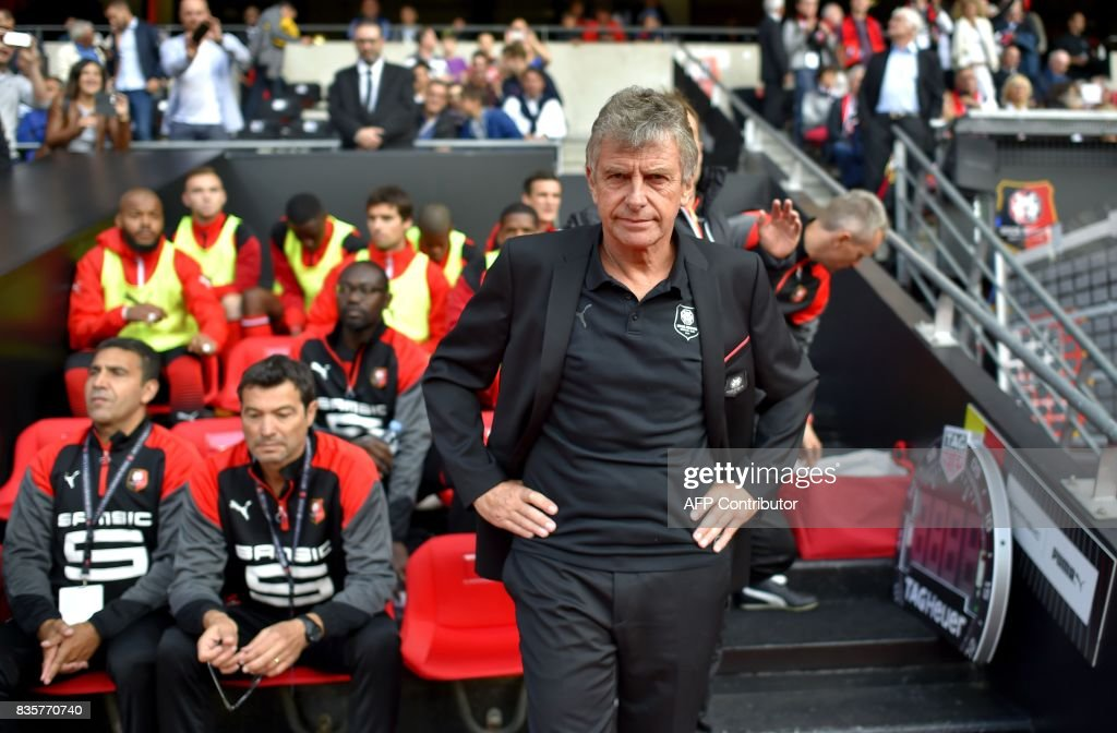 Rennes' French coach Christian Gourcuff looks on prior to the French L1 football match Rennes vs Dijon at the Roazhon Park stadium in Rennes, western France, on August 19, 2017. /