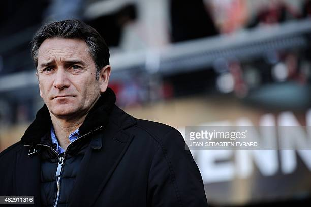 Rennes' French coach Philippe Montanier looks on prior to the French L1 football match Rennes vs Marseille on February 7 2015 at the Route de Lorient...