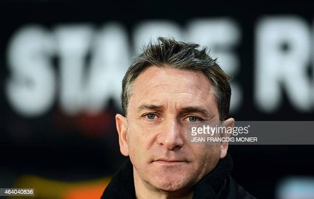Rennes' French coach Philippe Montanier looks on prior to the French L1 football match between Rennes and Bordeaux on February 21 2015 at the route...