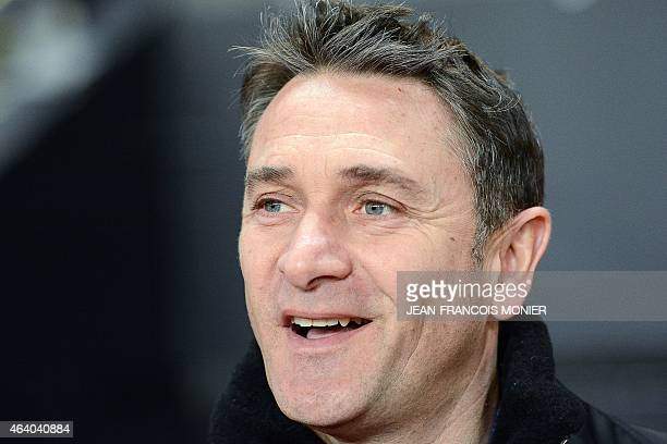 Rennes' French coach Philippe Montanier smiles prior to the French L1 football match between Rennes and Bordeaux on February 21 2015 at the route de...