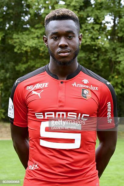 Rennes' French defender Joris Gnagnon poses during the shooting of Stade Rennais' football club's official picture in Rennes on September 12 2016 /...