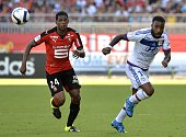 Rennes' French defender Ludovic Baal vies with Lyon's French Senegalese defender Mouhamadou Dabo during the French L1 football match Lyon vs Rennes...