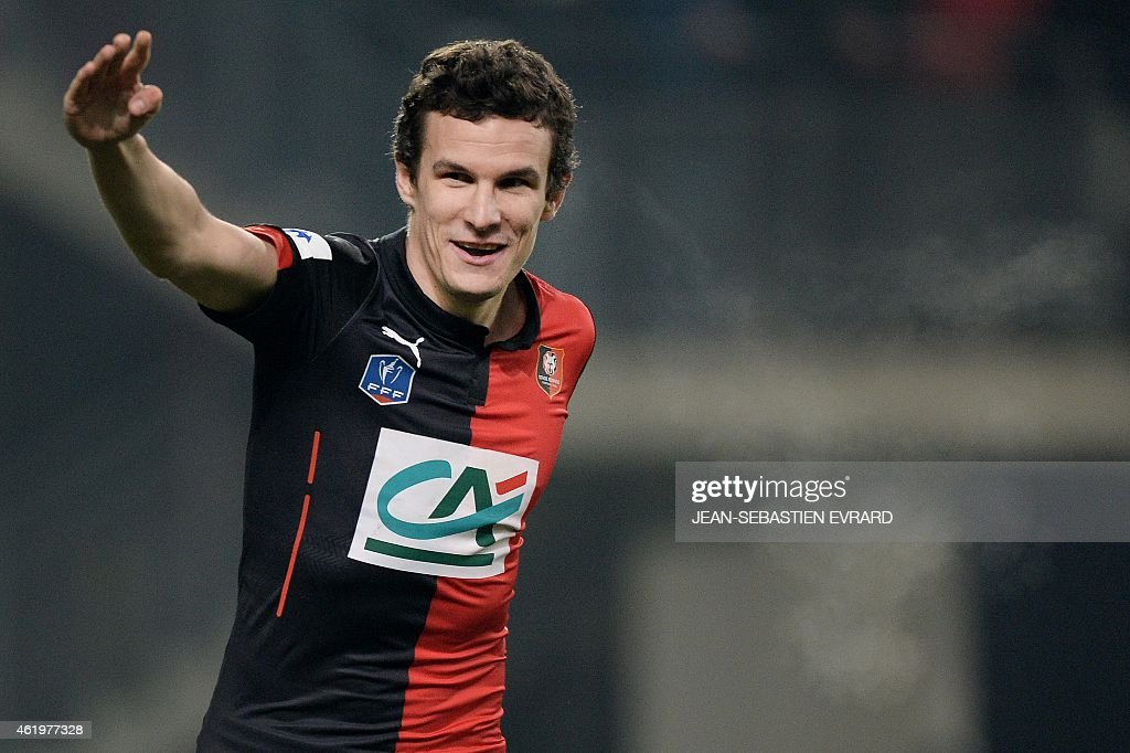 Rennes' French defender <a gi-track='captionPersonalityLinkClicked' href=/galleries/search?phrase=Romain+Danze&family=editorial&specificpeople=4121826 ng-click='$event.stopPropagation()'>Romain Danze</a> celebrates at the end of the French Cup football match Rennes vs Reims on January 22, 2015 at the Route de Lorient stadium in Rennes, western France.
