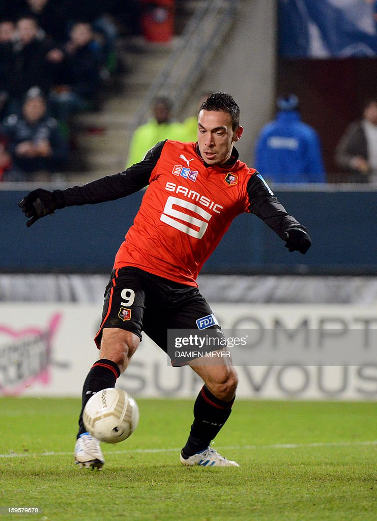Rennes' French forward Mevlut Erding controls the ball to score during the French League Cup semifinal football match Rennes against Montpellier on January 16, 2013 at the route de Lorient stadium in Rennes, western France. AFP PHOTO / DAMIEN MEYER