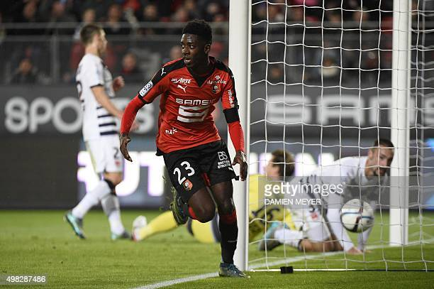 Rennes' French forward Ousmane Dembele celebrates after scoring a goal during the French L1 football match Rennes against Bordeaux on November 22...