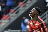 Rennes' French forward Ousmane Dembele celebrates after scoring a goal during the French L1 football match between Rennes and Nantes on March 6 2016...