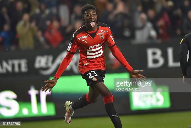 Rennes' French forward Ousmane Dembele celebrates after scoring during the French L1 football match Rennes vs Reims on April 2 2016 at the Roazhon...