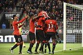 Rennes' French forward Ousmane Dembele celebrates with teammates after scoring a goal during the French L1 football match Rennes against Bordeaux on...