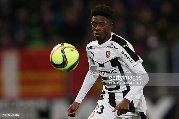 Rennes' French forward Ousmane Dembele controls the ball during the French L1 football match between Caen and Rennes on February 21 2016 at the...