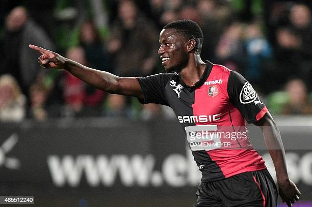 Rennes' French forward PaulGeorges Ntep celebrates after scoring a goal during the French L1 football match between Rennes and Metz at the Route de...