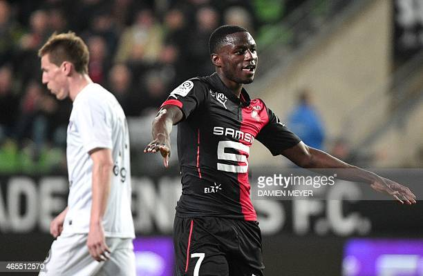 Rennes' French forward PaulGeorges Ntep dances as he celebrates after scoring a goal during the French L1 football match between Rennes and Metz on...