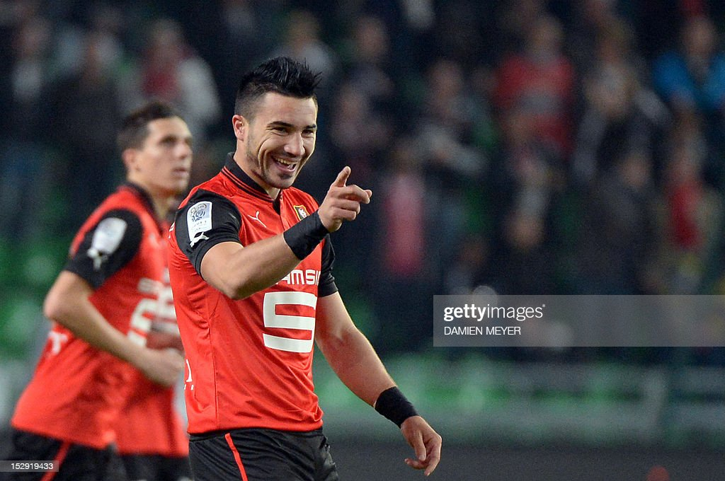 Rennes' French forward Romain Alessandrini celbrates after scoring during the French L1 football match Stade Rennais FC vs Lille LOSC, on September 28, 2012, at the route de Lorient stadium in Rennes, western France.