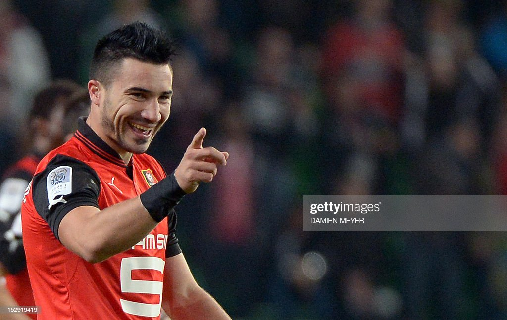 Rennes' French forward Romain Alessandrini celebrates after scoring during the French L1 football match Stade Rennais FC vs Lille LOSC, on September 28, 2012, at the route de Lorient stadium in Rennes, western France.