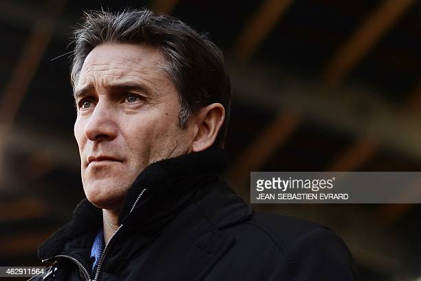 Rennes' French head coach Philippe Montanier looks on before the French L1 football match between Rennes and Marseille on February 7 2015 at the...