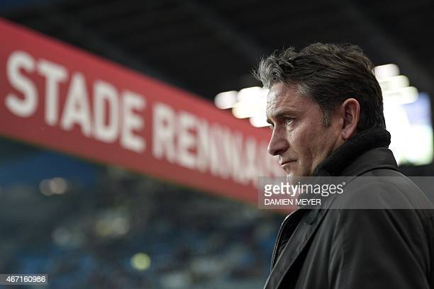 Rennes' French head coach Philippe Montanier looks on before the French L1 football match between Rennes and Nantes on March 21 2015 at the Route de...