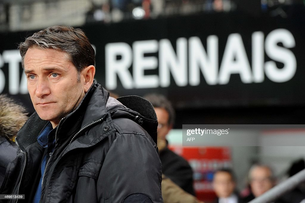 Rennes' French head coach Philippe Montanier looks on prior to the French L1 football match Rennes vs Montpellier on February 15, 2014 at the Route de Lorient stadium in Rennes, western France.