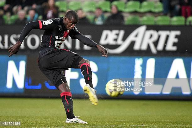 Rennes' French midfielder Abdoulaye Doucoure kicks the ball during the French L1 football match Rennes vs SaintEtienne on January 18 2015 at the...