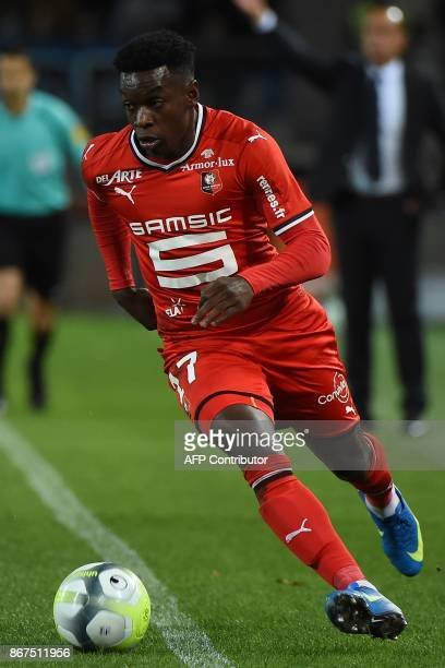 Rennes' French midfielder Faitout Maouassa runs with a ball during the French L1 football match between Montpellier and Rennes on October 28 2017 at...
