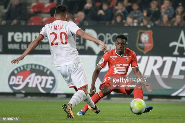 Rennes' French midfielder Faitout Maouassa vies with Lille's Brazilian midfielder Thiago Maia during the French L1 football match between Rennes and...