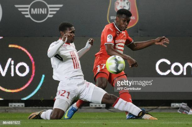 Rennes' French midfielder Faitout Maouassa vies with Lille's Malian midfielder Yves Bissouma during the French L1 football match between Rennes and...