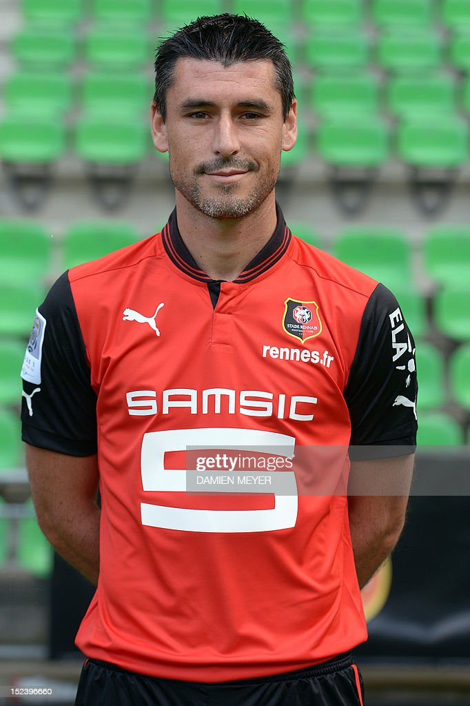 Rennes' French midfielder Julien Feret poses for the official photo on September 19, 2012 at the route de Lorient stadium in Rennes, western France. AFP PHOTO DAMIEN MEYER