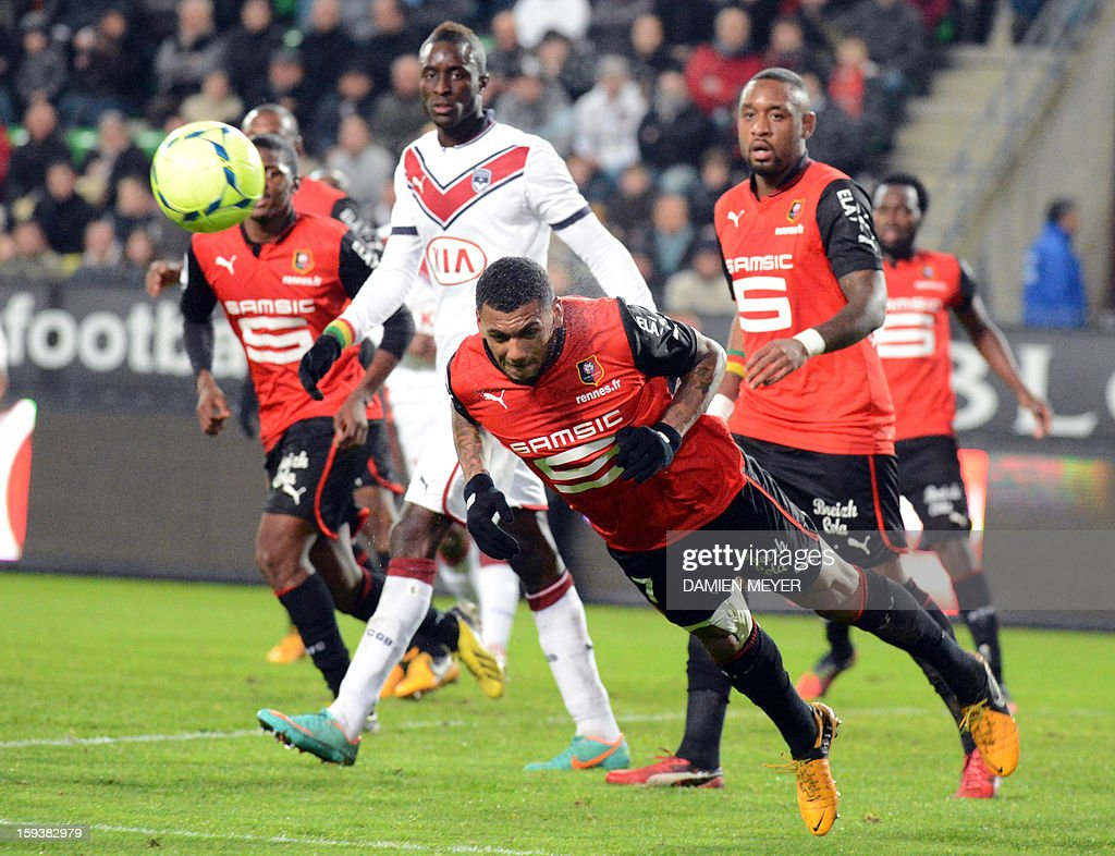 Rennes' French midfielder Yann M'vila (C) heads the ball during the French L1 football match between Rennes and Bordeaux on January 12, 2013 at the route de Lorient stadium in Rennes, western France.