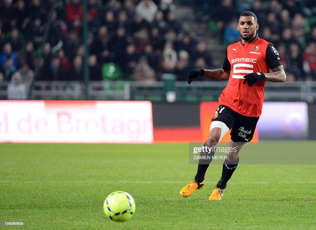 Rennes' French midfielder Yann M'vila looks at the ball during the French L1 football match between Rennes and Bordeaux on January 12, 2013, at the Route de Lorient stadium in Rennes, western France.