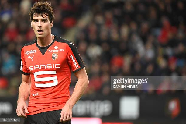 Rennes' French midfielder Yoann Gourcuff attends the French L1 football match Rennes against Lorient on January 9 2016 at the Roazhon park stadium in...
