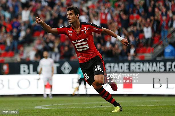 Rennes' French midfielder Yoann Gourcuff celebrates after scoring a goal during the French L1 football match between Stade Rennais FC and AS Nancy...