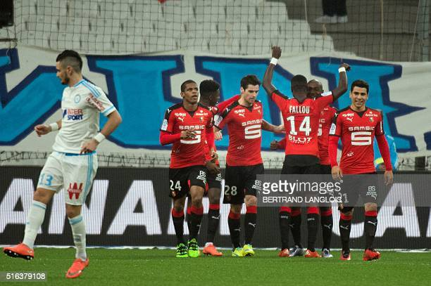 Rennes' French midfielder Yoann Gourcuff celebrates after scoring during the French L1 football match Olympique de Marseille vs Rennes on March 18...