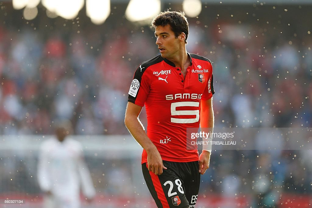 Rennes' French midfielder Yoann Gourcuff looks on during the French L1 football match between Stade Rennais FC and AS Nancy Lorraine on August 20...