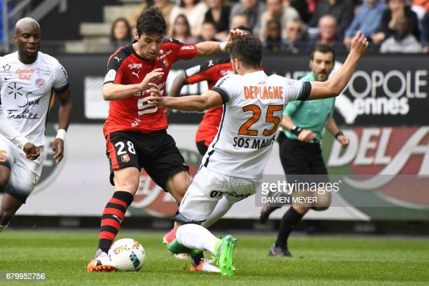 Rennes' French midfielder Yoann Gourcuff vies with Montpellier's French defender Mathieu Deplagne during the French L1 football match Rennes versus...