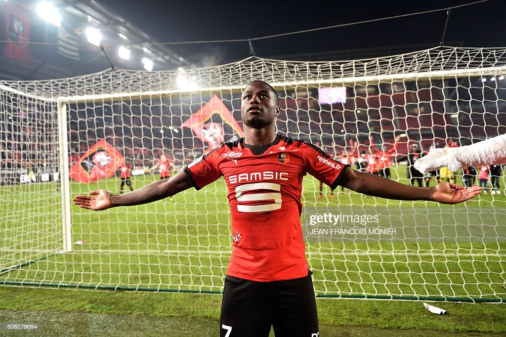 Rennes' FrenchCameroonian forward PaulGeorges Ntep waves his supporters after winning the French L1 football match between Rennes and Ajaccio on...