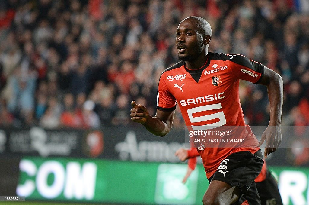 Rennes' Ivorian forward Giovanni Sio celebrates after scoring during the French L1 football match between Rennes and Lille on September 18 2015 at...