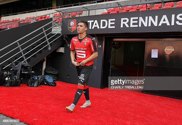 Rennes' Juan Fernando Quintero arrives for the shooting of team's official picture in the Roazhon Park stadium in Rennes western France on September...