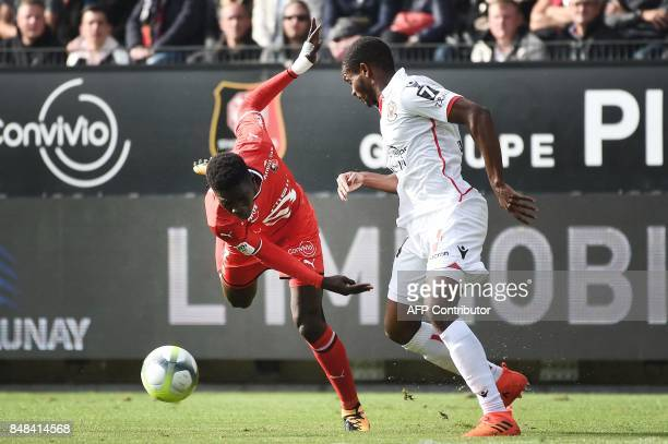 Rennes' Malian defender Hamari Traore vies with Nice's Brazilian defender Santos Marlon during the French L1 football match between Rennes and Nice...