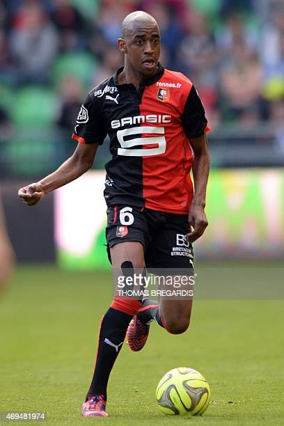 Rennes' midfielder Gelson Fernandes runs with the ball during the French L1 football match between Rennes and Guingamp on April 12 2015 at the route...