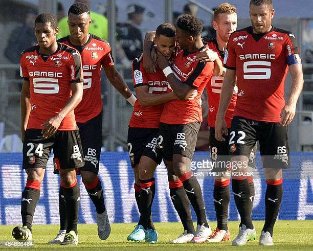 Rennes' players celebrates after scoring a goal during the French L1 football match between Lyon and Rennes on August 22 at the Gerland stadium in...