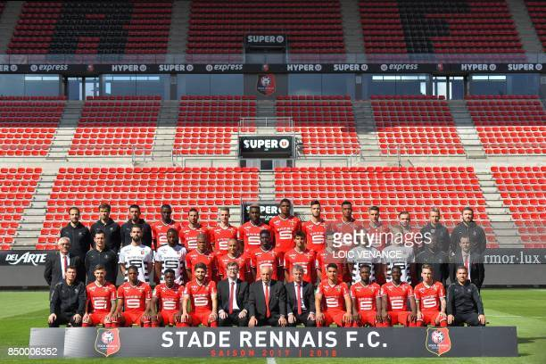 Rennes' players pose during the official presentation of the French L1 football Club Stade Rennais FC on September 19 2017 in Rennes western France...