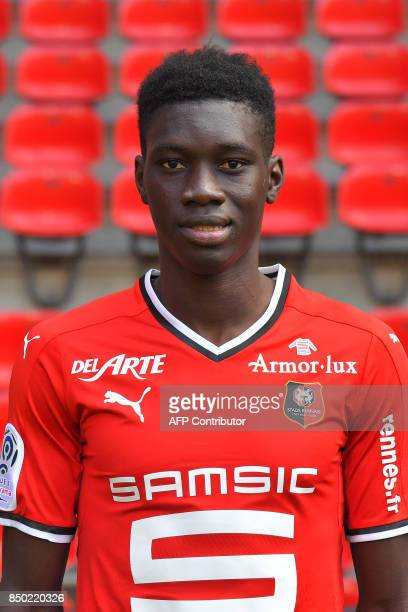 Rennes' Senegalese forward Ismaila Sarr poses during the official presentation of the French L1 football Club Stade Rennais FC on September 19 2017...
