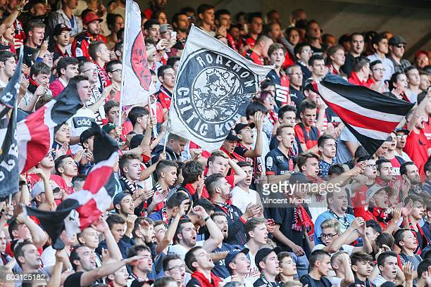 Rennes' supporters during the french Ligue 1 match between Stade Rennais and SM Caen at Stade de la Route de Lorient on September 11 2016 in Rennes...
