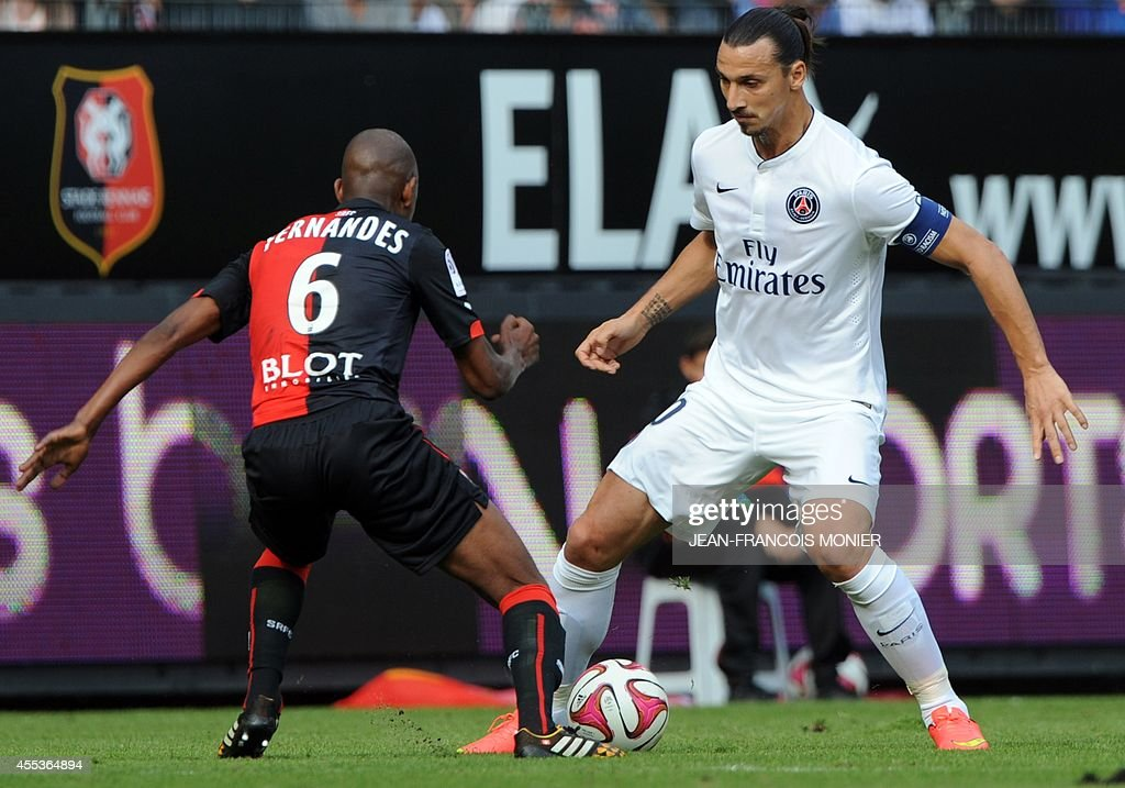 Rennes' Swiss midfielder Gelson Fernandes Tavares vies for the ball with Paris' Swedish midfielder Zlatan Ibrahimovic during the French L1 football...